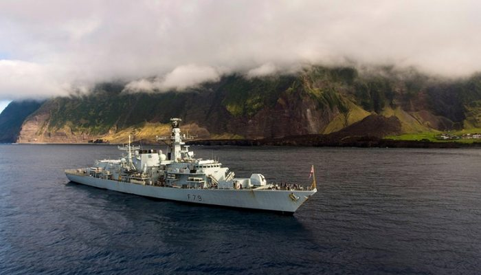 HMS Portland off Tristan da Cunha January 2017