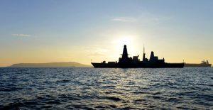 HMS Diamond at anchor off Portland 22 Jan 2017