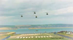 4 Lynx from 815 Squadron carry out a final flight over Osprey Quay 17 March 2017