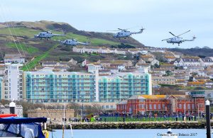 The final Lynx farewell flypast - over the odd RNAS Osprey, their former home base - 17 March 2017