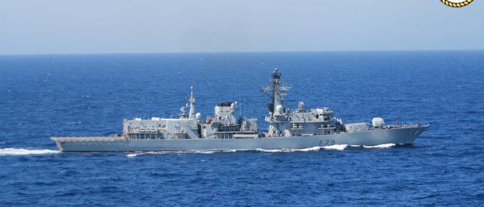 HMS Portland enjoying the Mediterranean sun