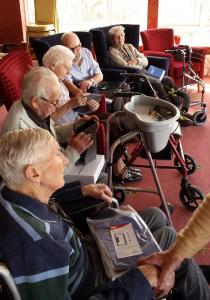 Pembroke House residents with their new iPads