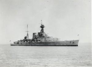 HMS Hood in Weymouth Bay