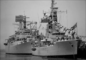 HMS Euryales plus a County Class Destroyer at Q Pier, Portland